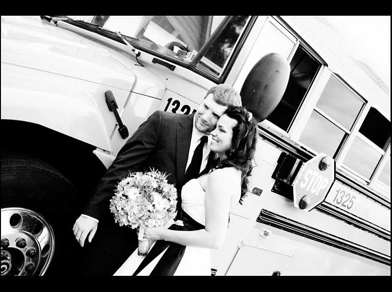 Wedding Portraits in front of the School Bus