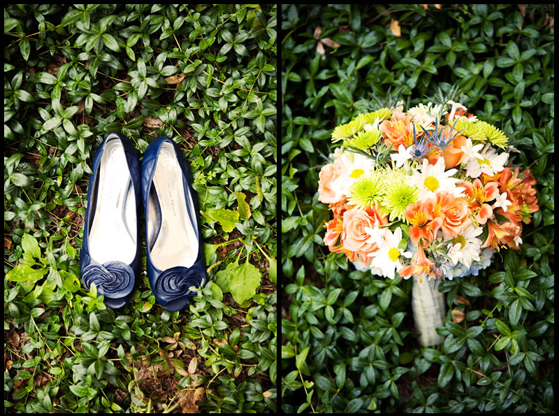 Navy Shoes and Orange Bouquet