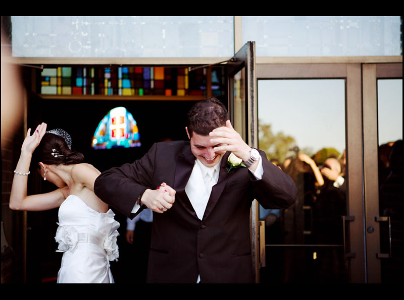 Throwing Coins at the Bride and Groom