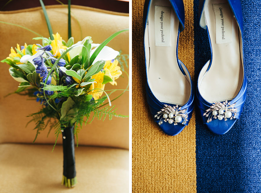 WVU Wedding Bouquet and Shoes
