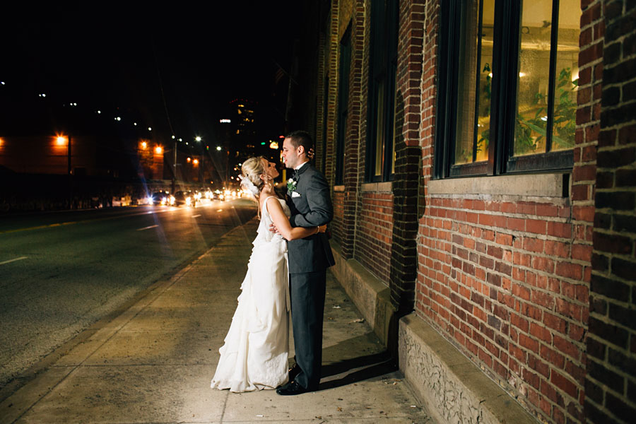 Pittsburgh wedding portraits at night